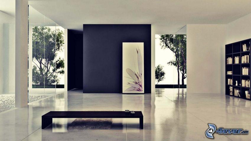 pokój, stół, okna, obraz