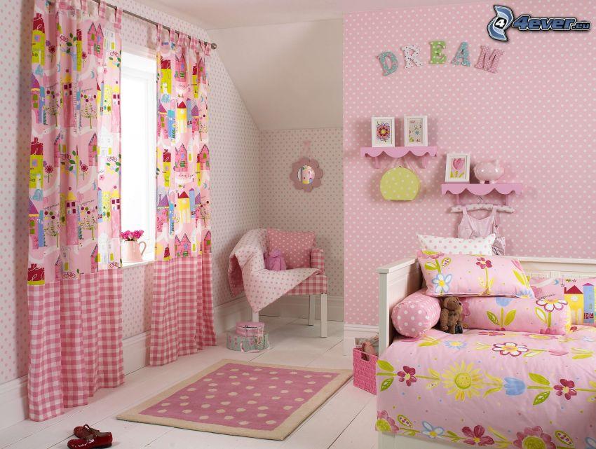 pokój dziecinny, różowy