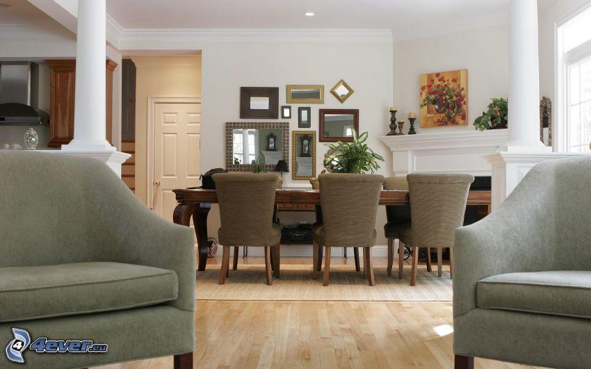 pokój dzienny, fotele, stół, krzesła