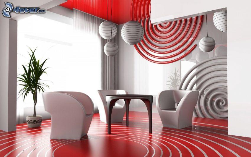 pokój dzienny, fotele, stół, lampy
