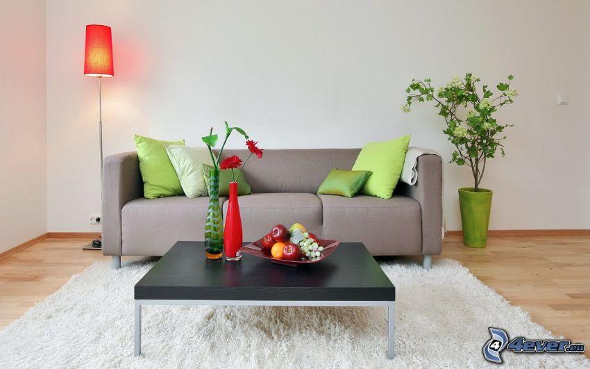 pokój dzienny, kanapa, lampa, stół