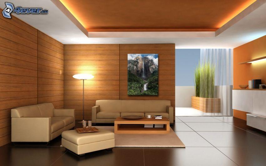 pokój dzienny, kanapa, obraz, lampa