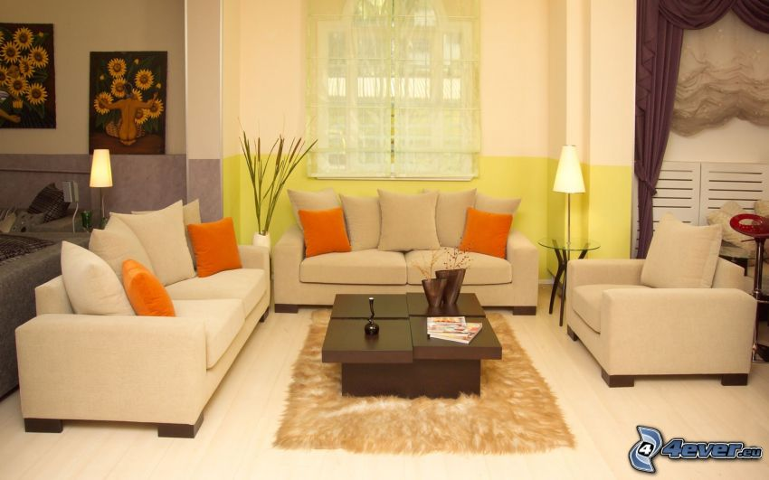 pokój dzienny, kanapa, okno, stół