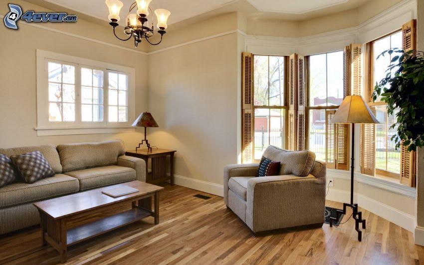 pokój dzienny, sofa, fotel, okna