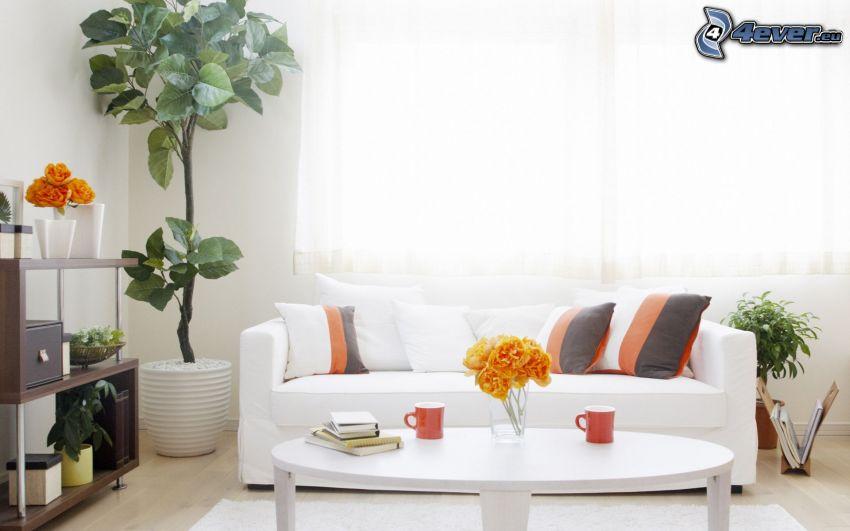 pokój dzienny, sofa, kwiaty