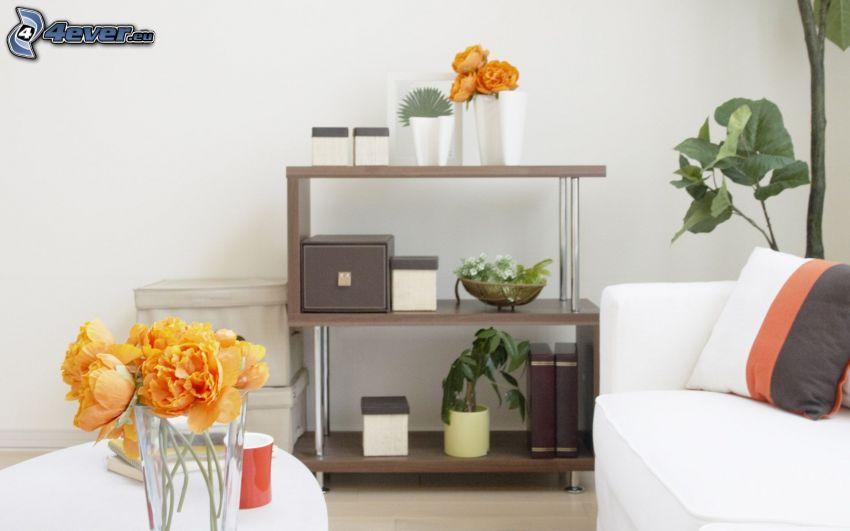 pokój dzienny, szafa, sofa, kwiaty
