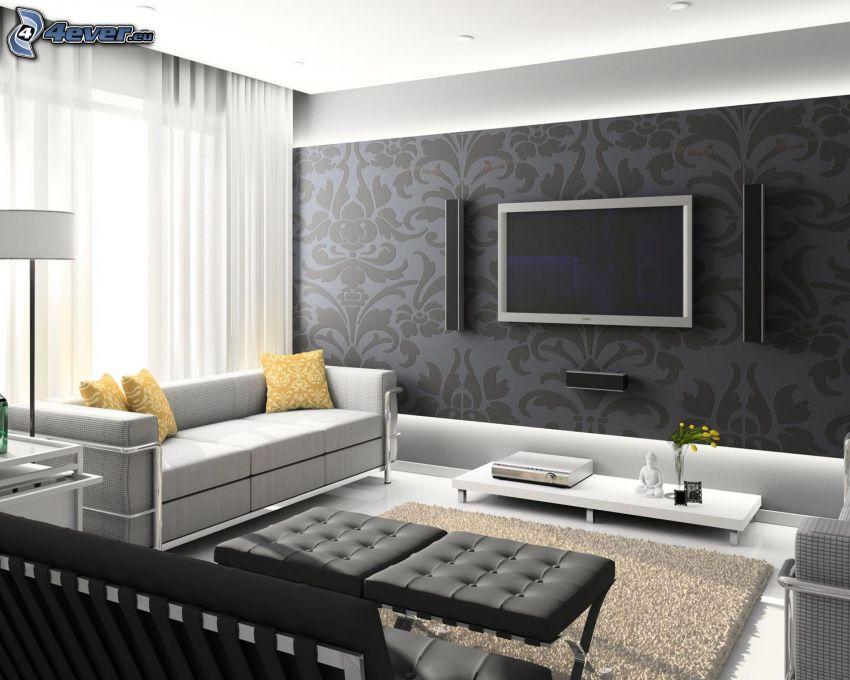 pokój dzienny, telewizor, sofa