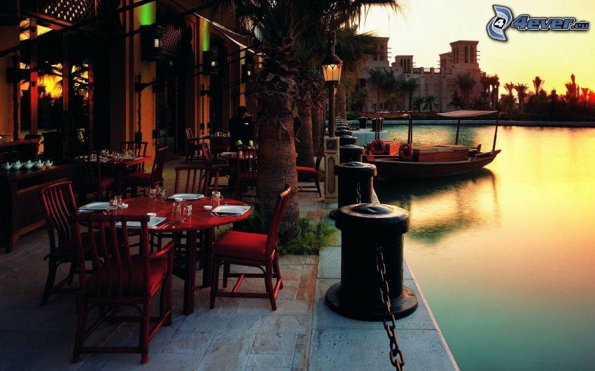 restauracja, krzesła, port, morze