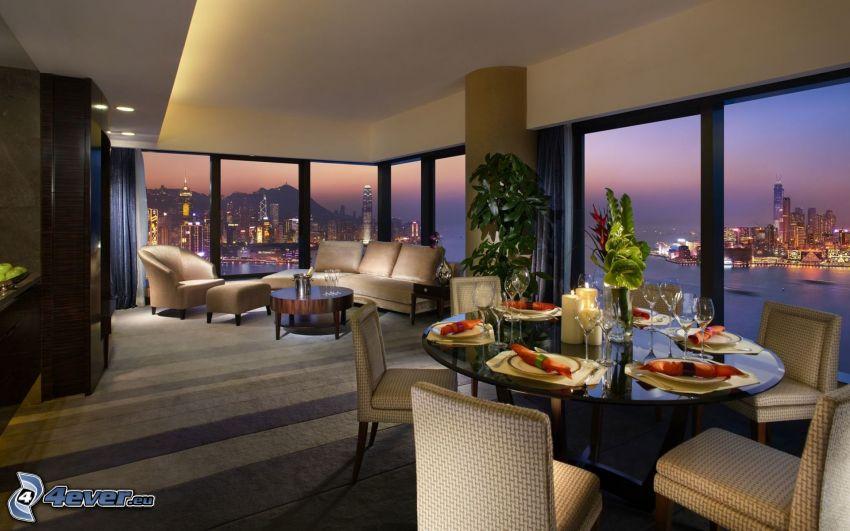 restauracja, luksus, widok