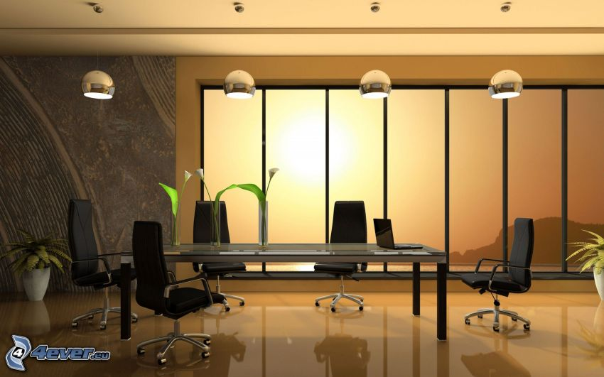 sala konferencyjna, pracownia, stół, krzesła, lampy