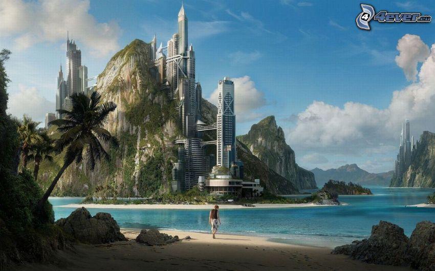 sci-fi, budowla, skała, plaża piaszczysta, morze, niebieska woda, mężczyzna