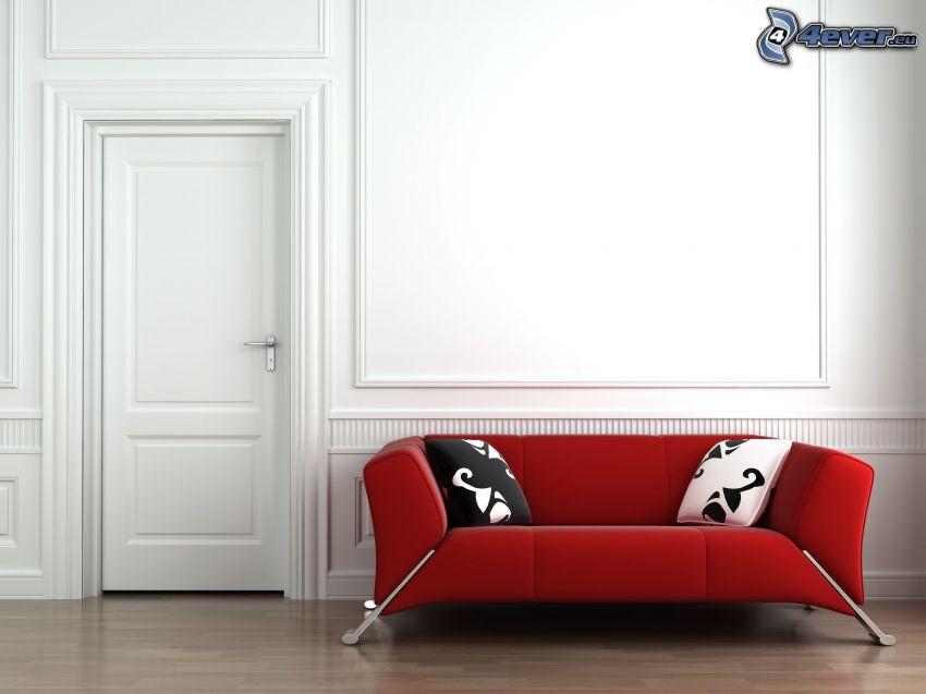 sofa, drzwi, pokój dzienny