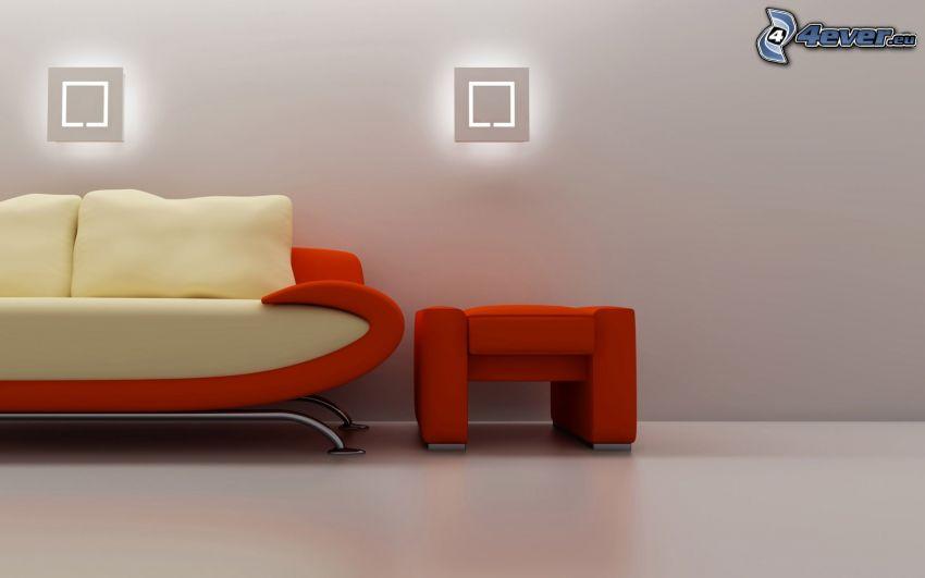 sofa, fotel