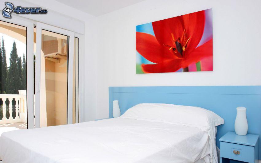 sypialnia, łóżko, obraz