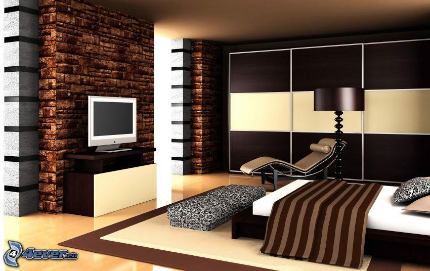 sypialnia, łóżko, telewizor