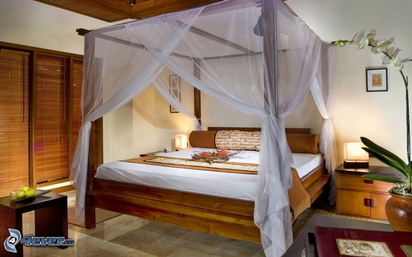 sypialnia, łóżko małżeńskie, baldachim