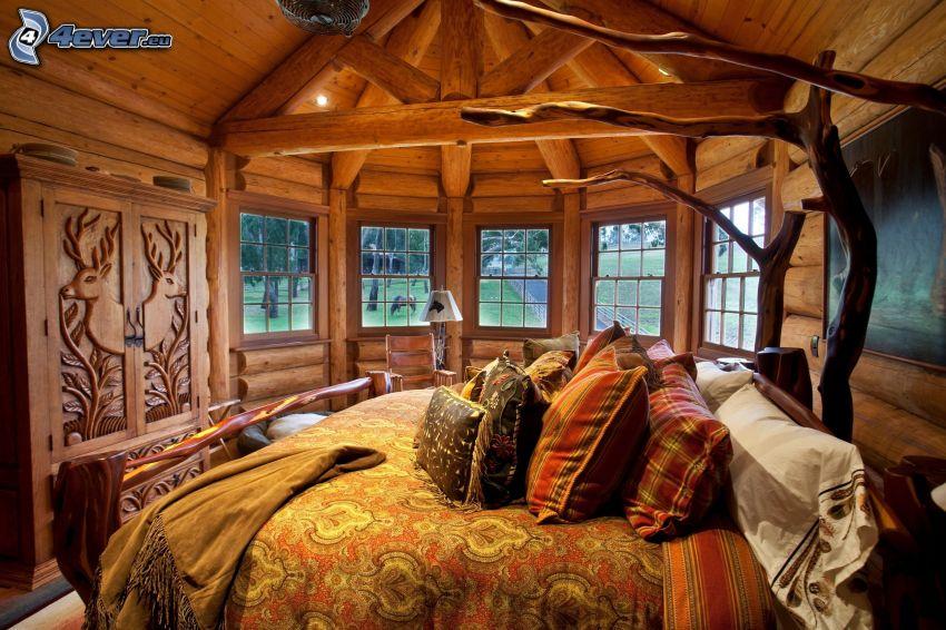 sypialnia, łóżko małżeńskie, drewno