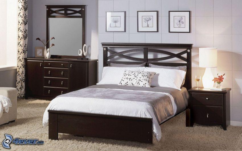 sypialnia, łóżko małżeńskie, lustro, nocna szafka