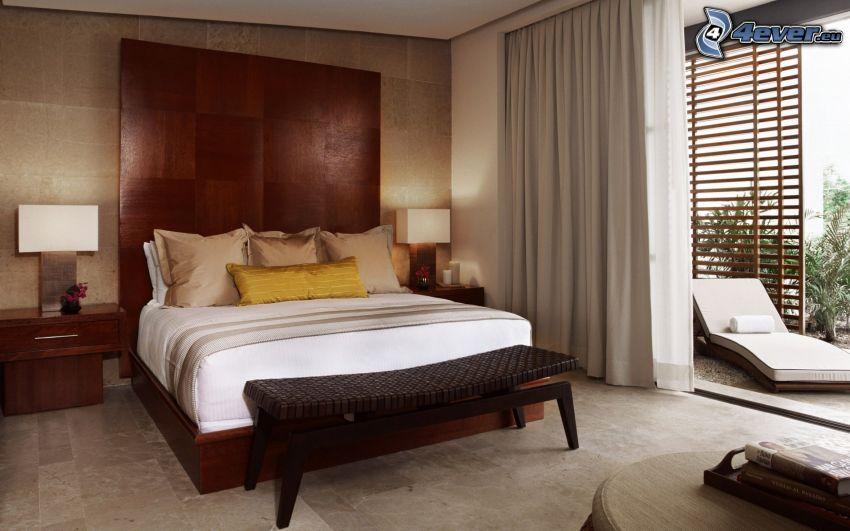 sypialnia, łóżko małżeńskie, nocna szafka, lampa, okno, leżak