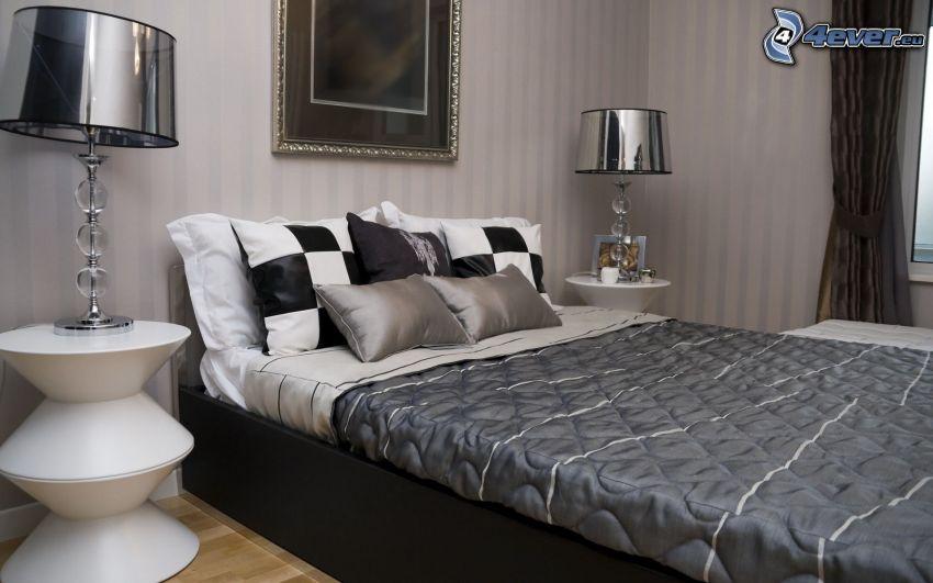 sypialnia, łóżko małżeńskie, nocna szafka, lampa