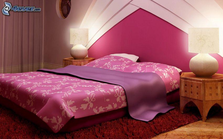 sypialnia, łóżko małżeńskie, nocna szafka, lampy