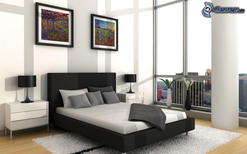 sypialnia, łóżko małżeńskie, obrazy, okno, nocna szafka