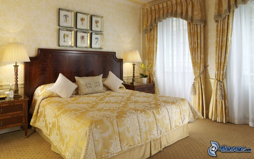 sypialnia, łóżko małżeńskie, okna, obrazy, nocna szafka