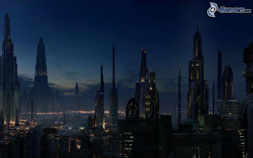 wieżowce, widok na miasto, wieczór