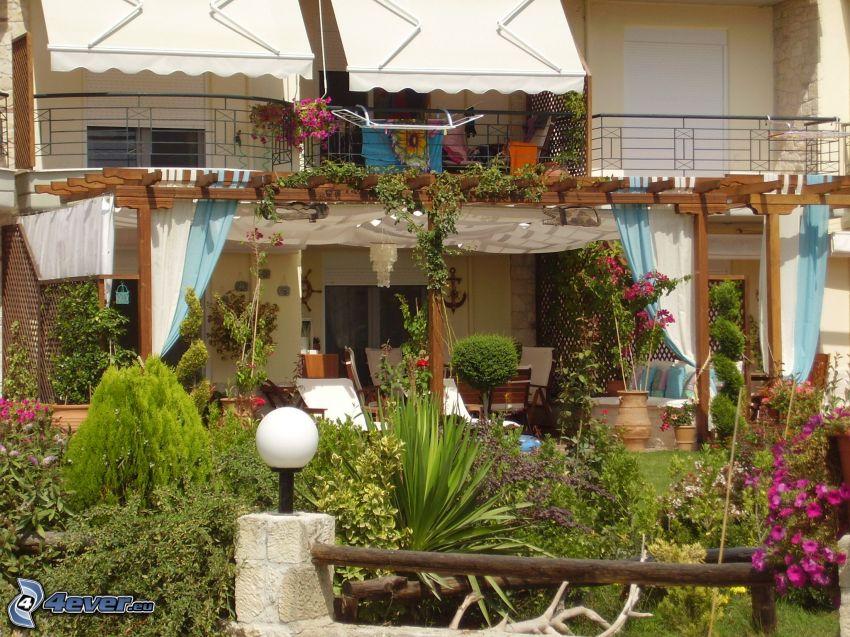 ogród, lampa, balkon, taras