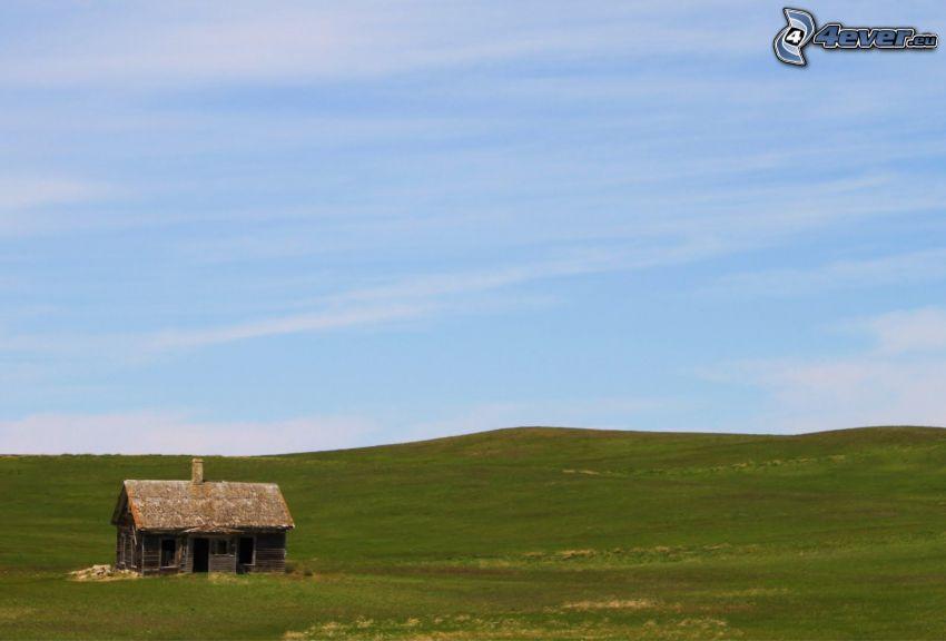 opuszczony dom, łąka