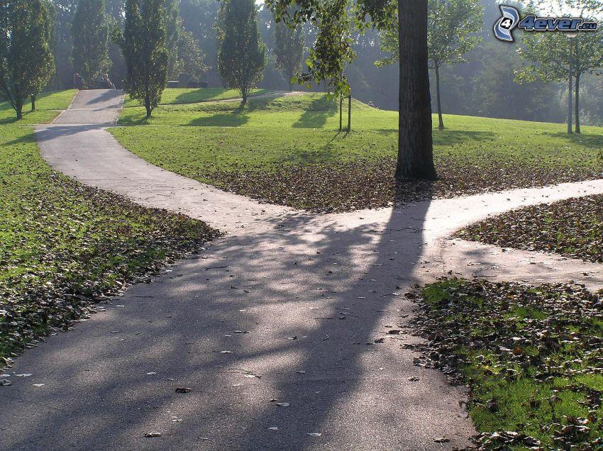 park, skrzyżowanie, chodnik