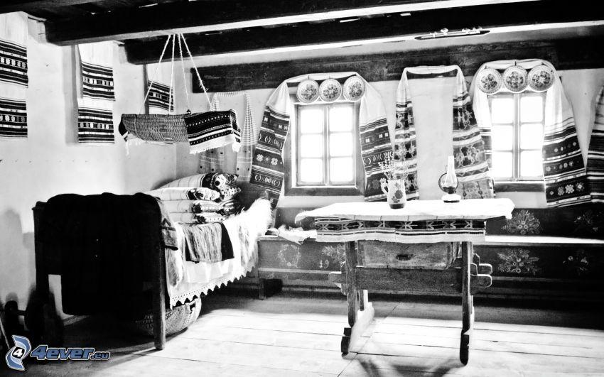 pokój, czarno-białe zdjęcie