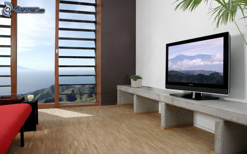 pokój dzienny, telewizor, widok na krajobraz