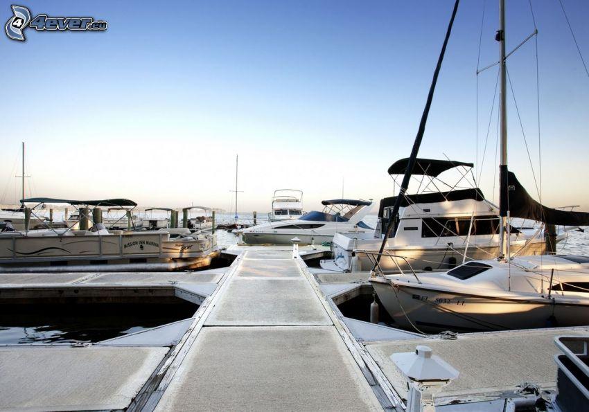 port, Marina Del Rey, molo, statki, Kalifornia