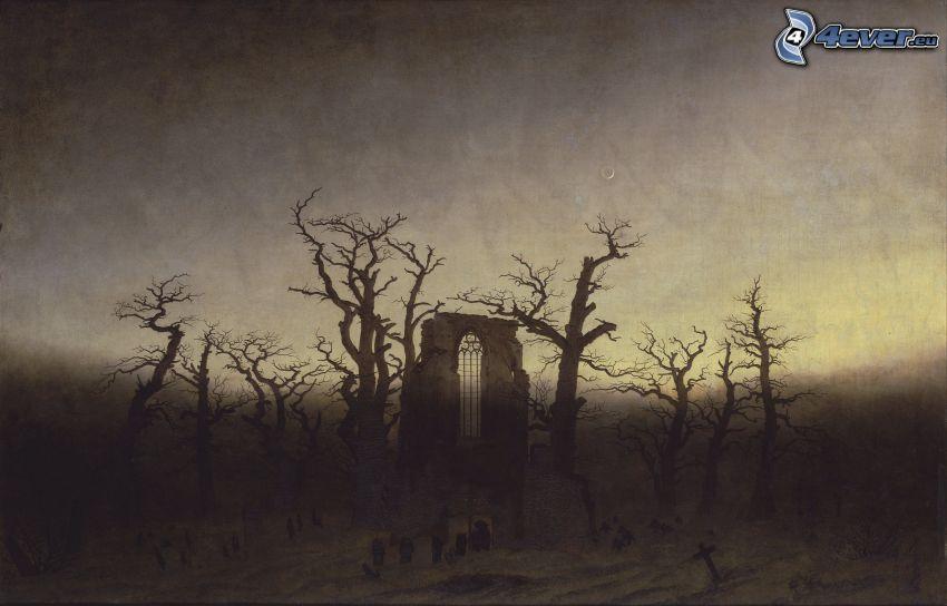ruiny, starożytne okno, wyschnięte drzewa