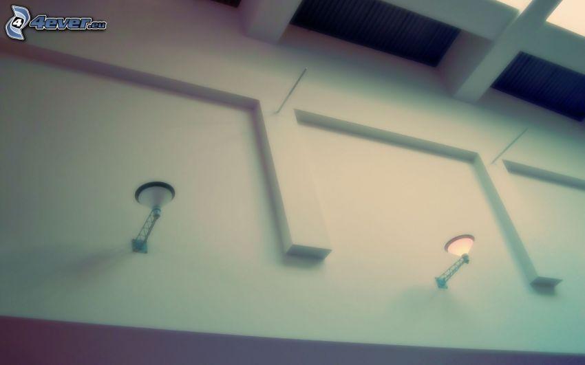 ściana, światła