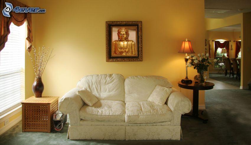 sofa, obraz, Buddha, pokój dzienny