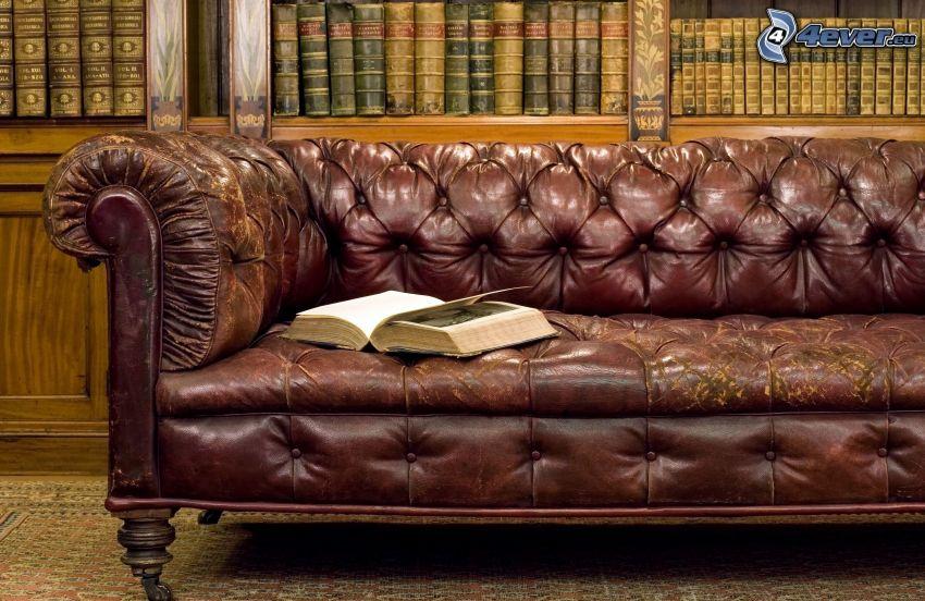 sofa, stara książka, biblioteka