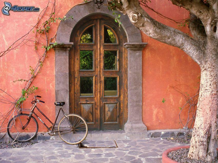 stare drzwi, rower, drzewo