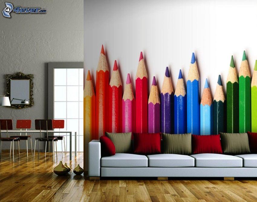 tapeta, kolorowe kredki, sofa, pokój dzienny
