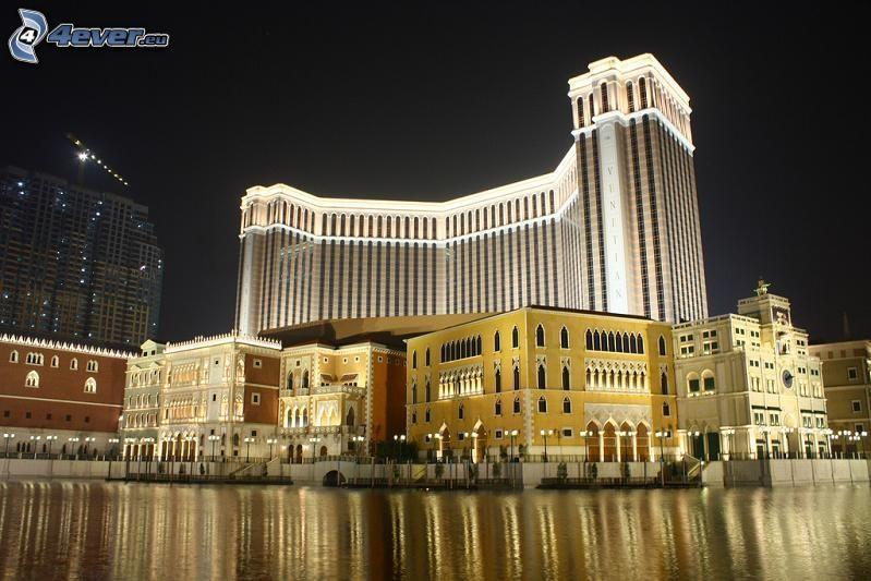 The Venetian Macao, Hong Kong, kasyno, noc, oświetlenie, rzeka