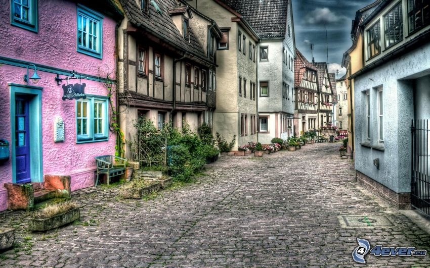 uliczka, domy, HDR
