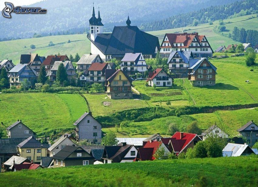 wieś, domy