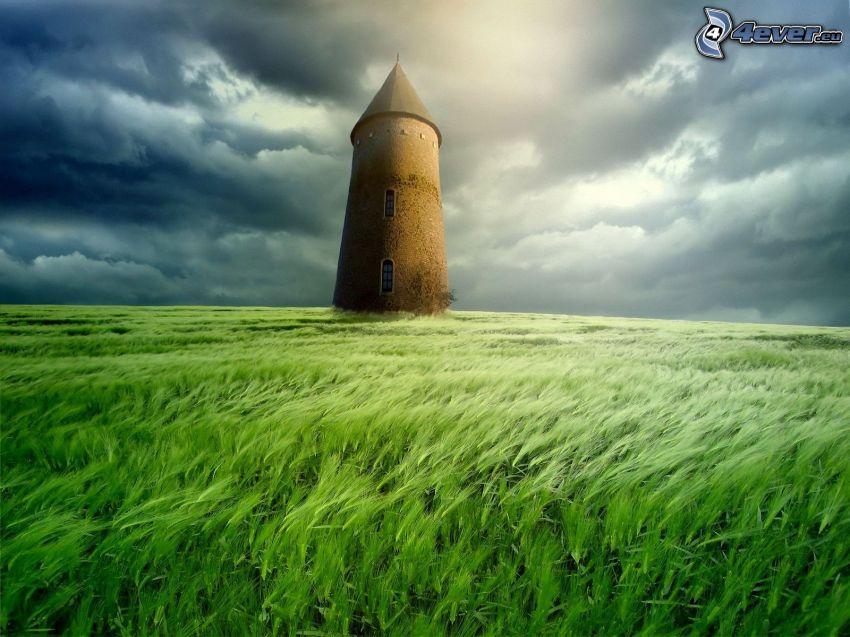 wieża, pole, ciemne chmury