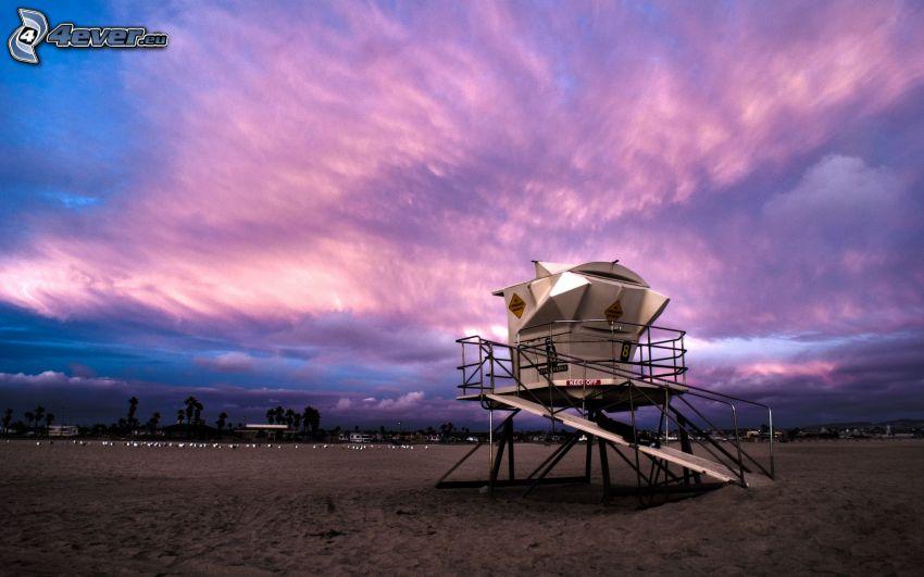 wieża widokowa, różowe niebo, piasek, wieczór