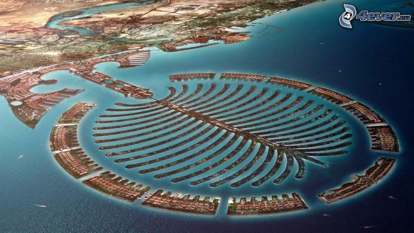 wyspa z palmami, Dubaj, Emiraty Arabskie, morze