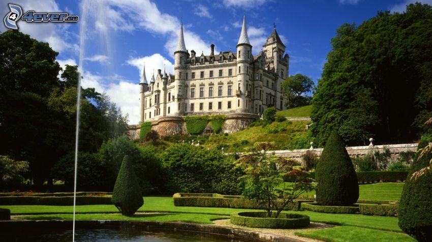 zamek, Szkocja, drzewa, jeziorko