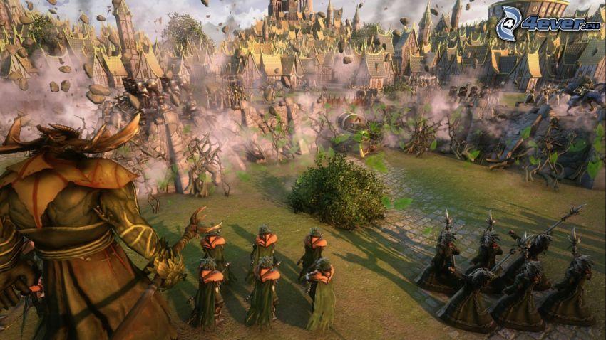 Age of Wonders, krajobraz sci-fi, figurki, domy