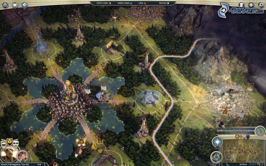 Age of Wonders, krajobraz sci-fi, las, jezioro