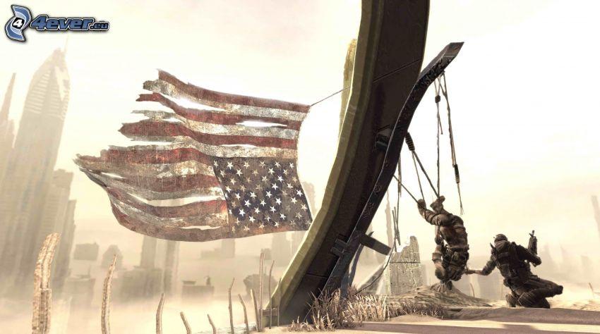 gra komputerowa, flaga Ameryki
